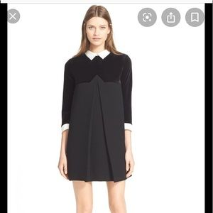 Kooples velvet yoke contrast collar dress petite